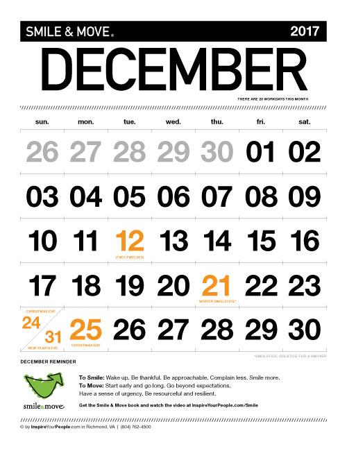 InspireYourPeople.com Monthly Calendar December 2017