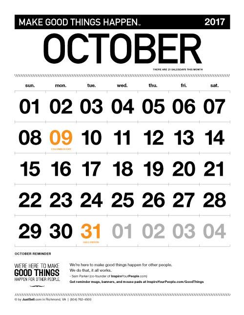 InspireYourPeople.com Monthly Calendar October 2017