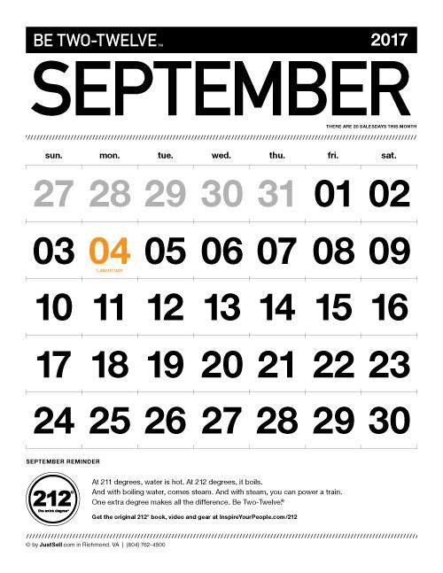 InspireYourPeople.com Monthly Calendar September 2017