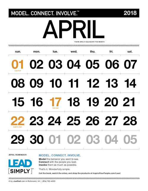 JustSell.com Monthly Calendar April 2018