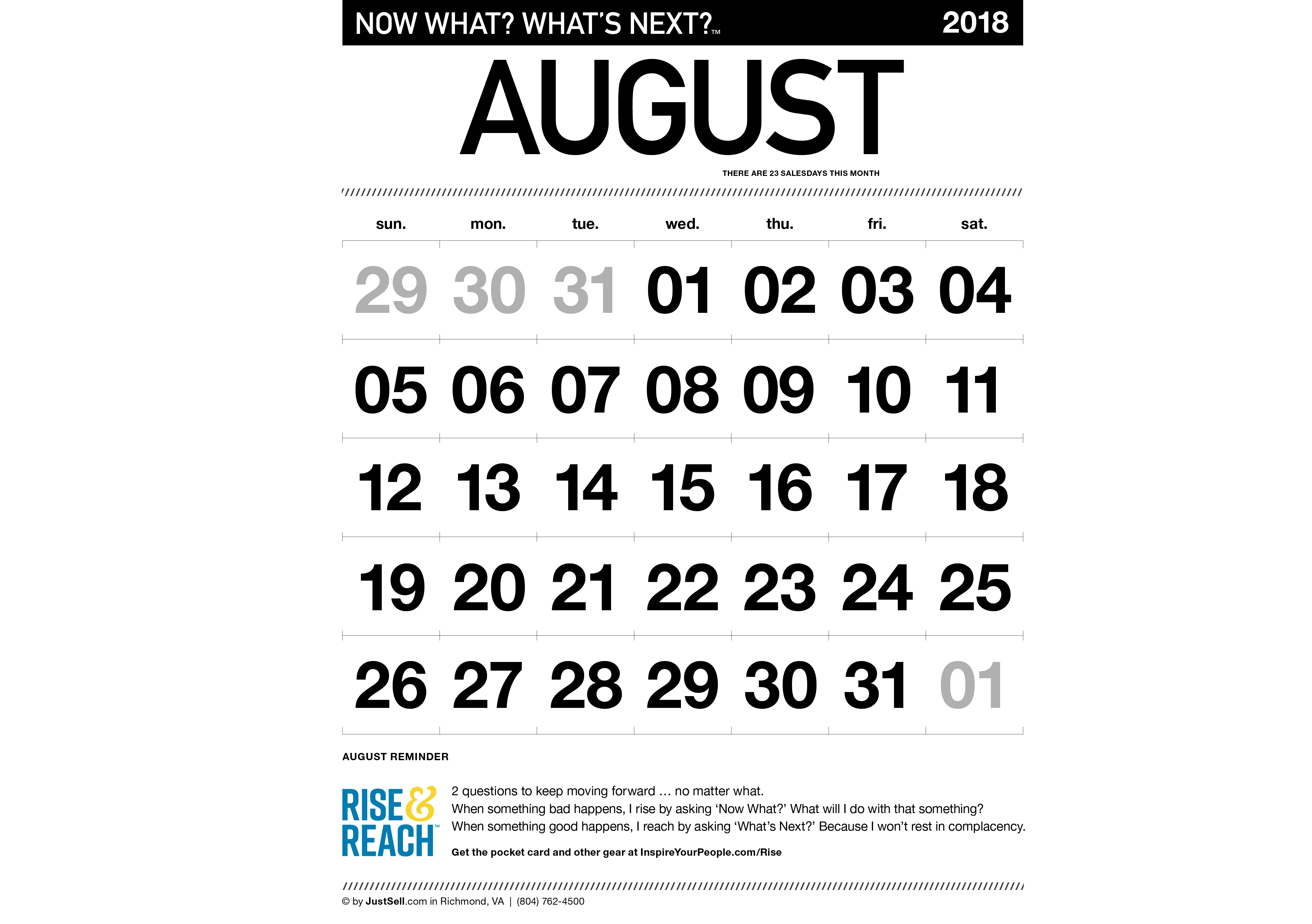 JustSell.com Monthly Calendar August 2018
