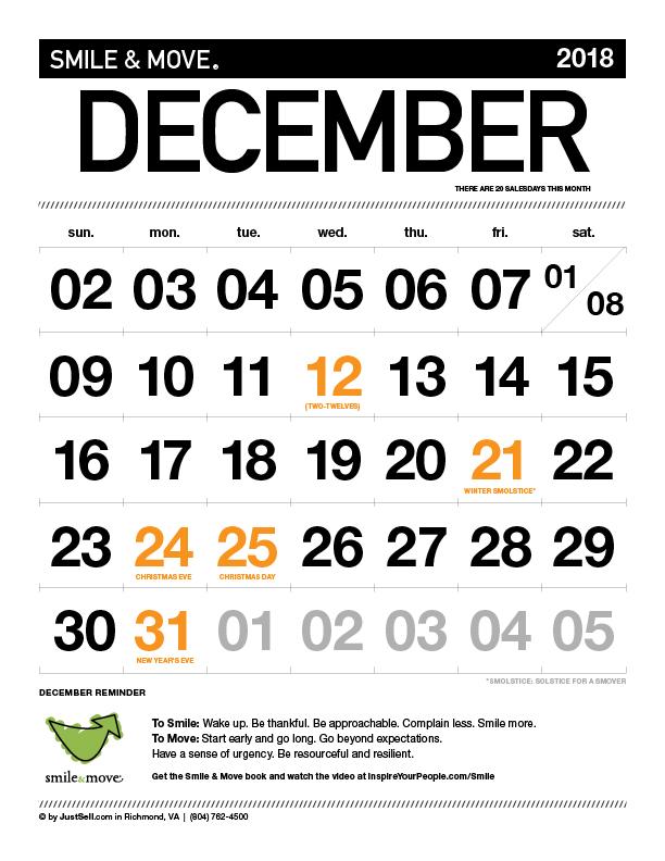 InspireYourPeople.com Monthly Calendar December 2018