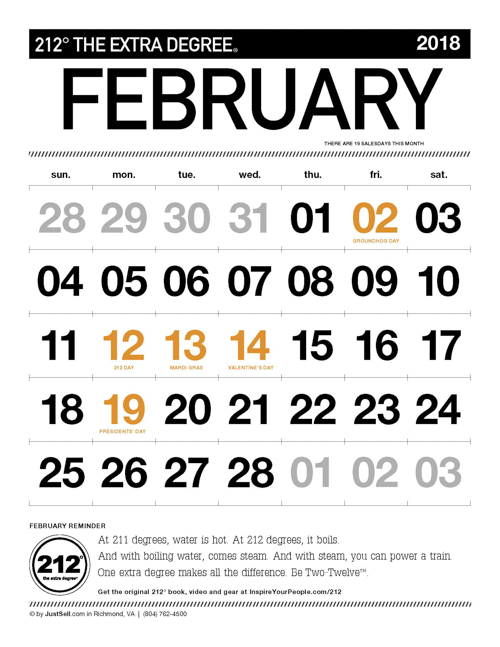 JustSell.com Monthly Calendar February 2018
