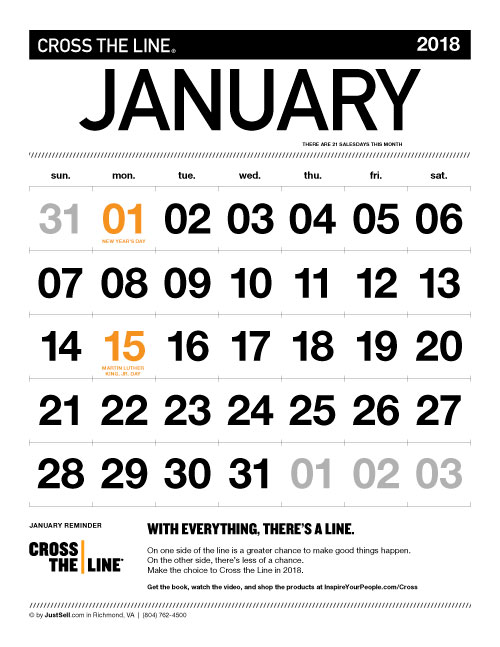 JustSell.com Monthly Calendar January 2018