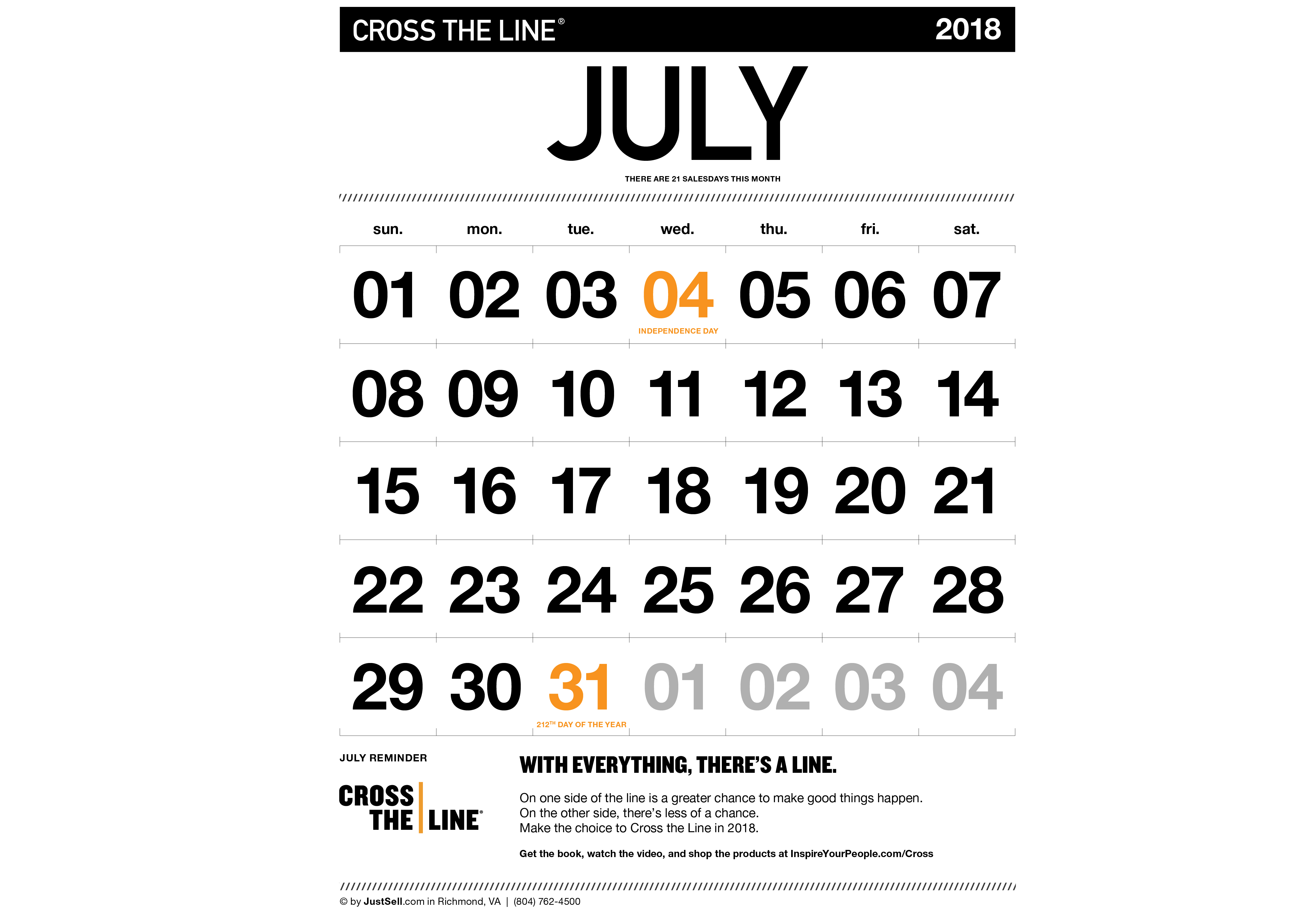JustSell.com Monthly Calendar July 2018