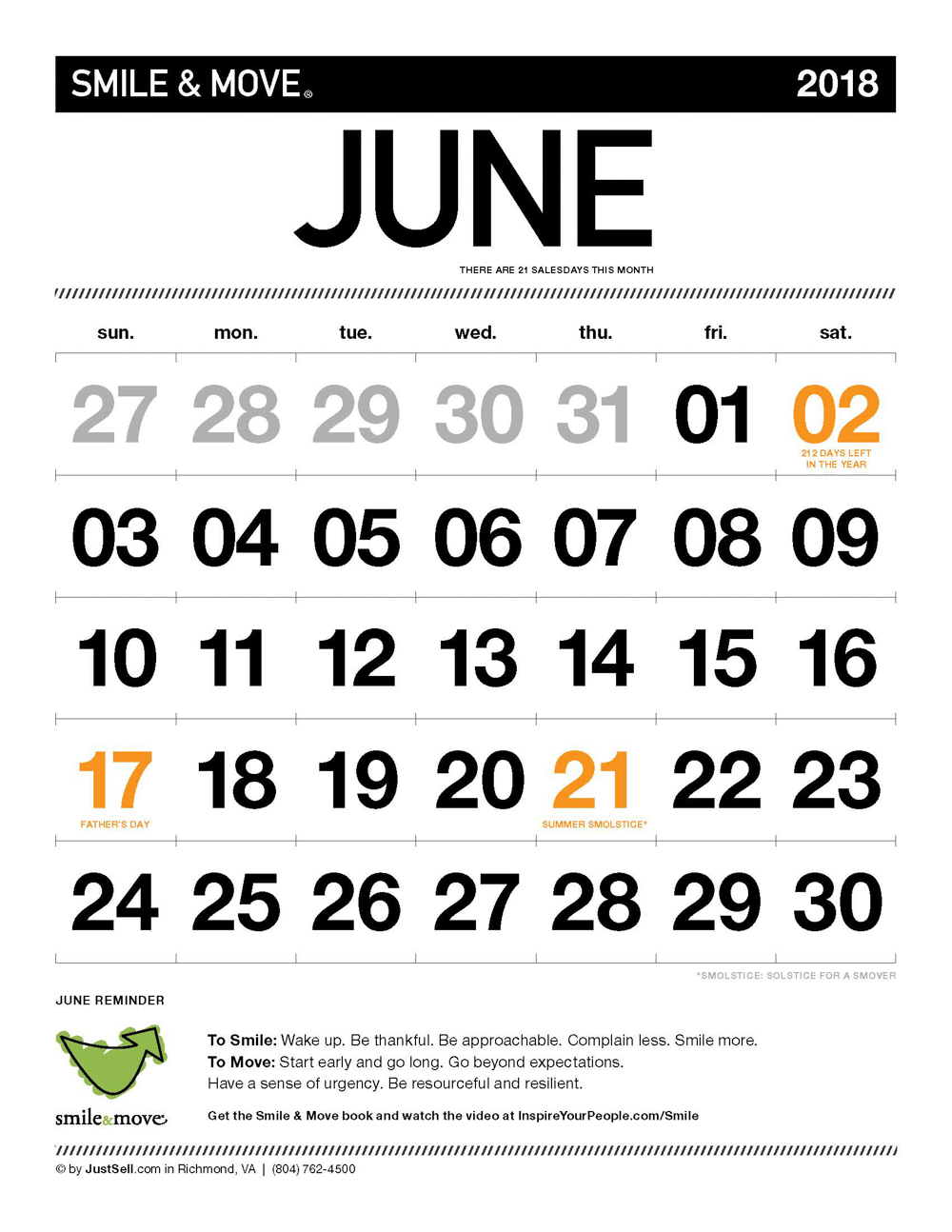 InspireYourPeople.com Monthly Calendar June 2018