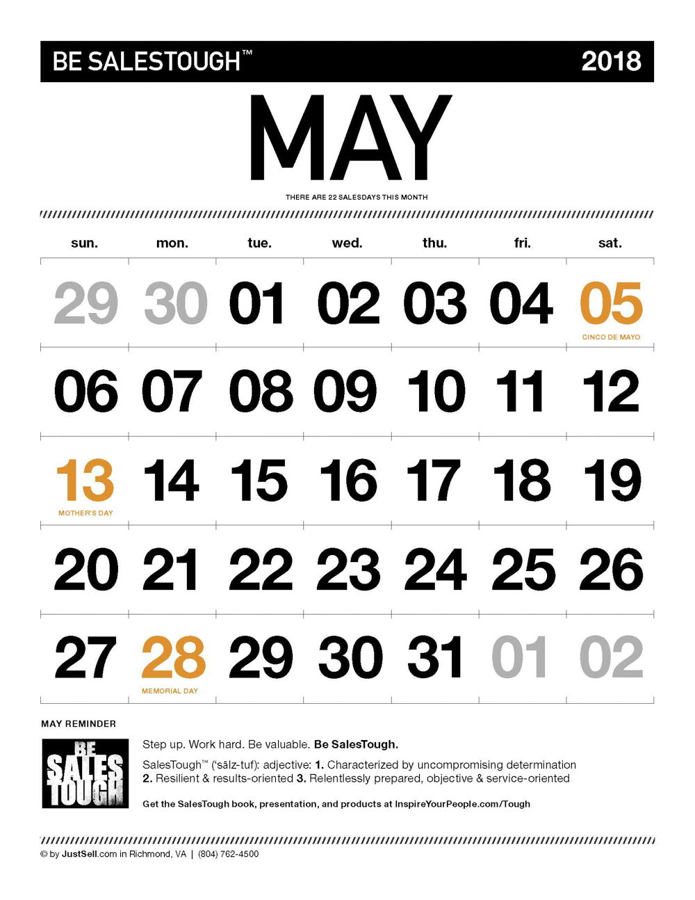 JustSell.com Monthly Calendar May 2018