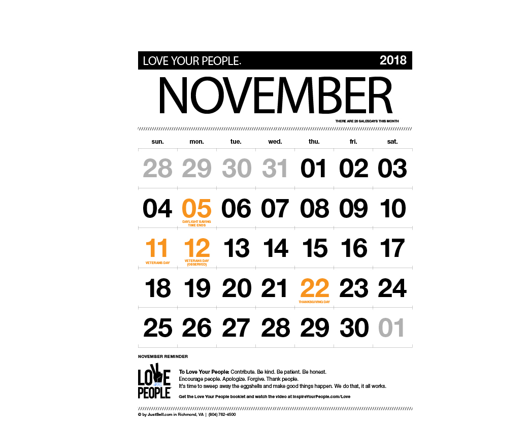 JustSell.com Monthly Calendar November 2018