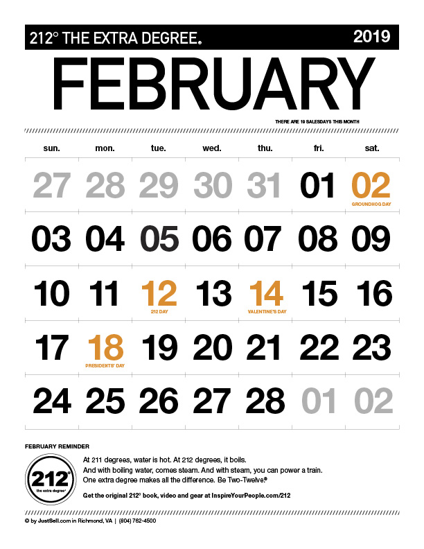 JustSell.com Monthly Calendar February 2019