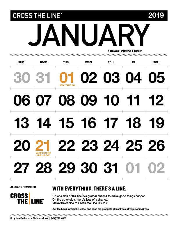 InspireYourPeople.com Monthly Calendar January 2019