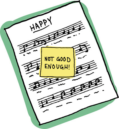 Drawn Happy Sheet Music With Not Good Enough Sticky