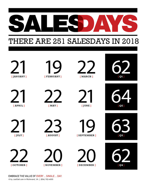 JustSell Printable Salesday Counts