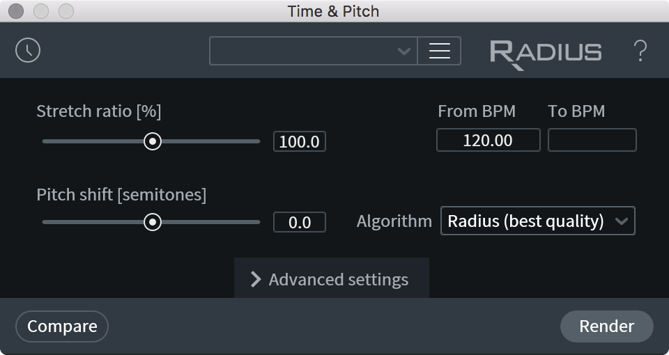 Time & Pitch(時間とピッチ)[STD & ADV] - RX 7 Help