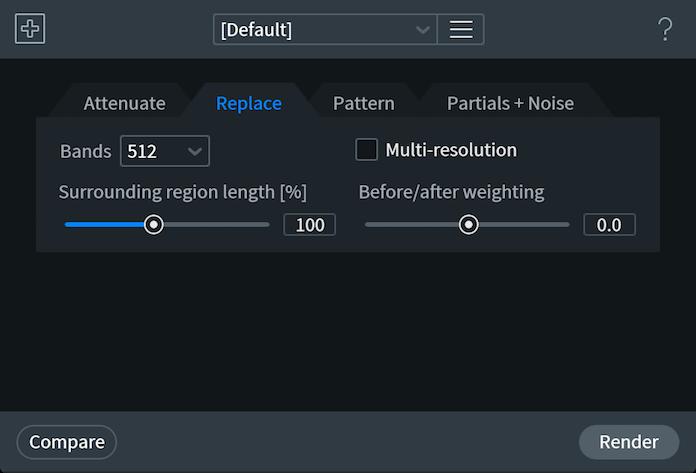 Spectral Repair Replace Tab