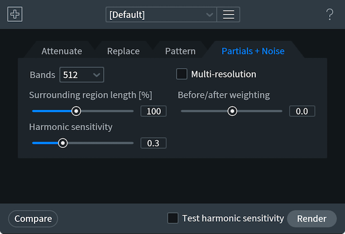 Partials and Noise Tab