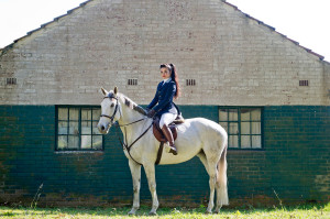 Girl on white horse