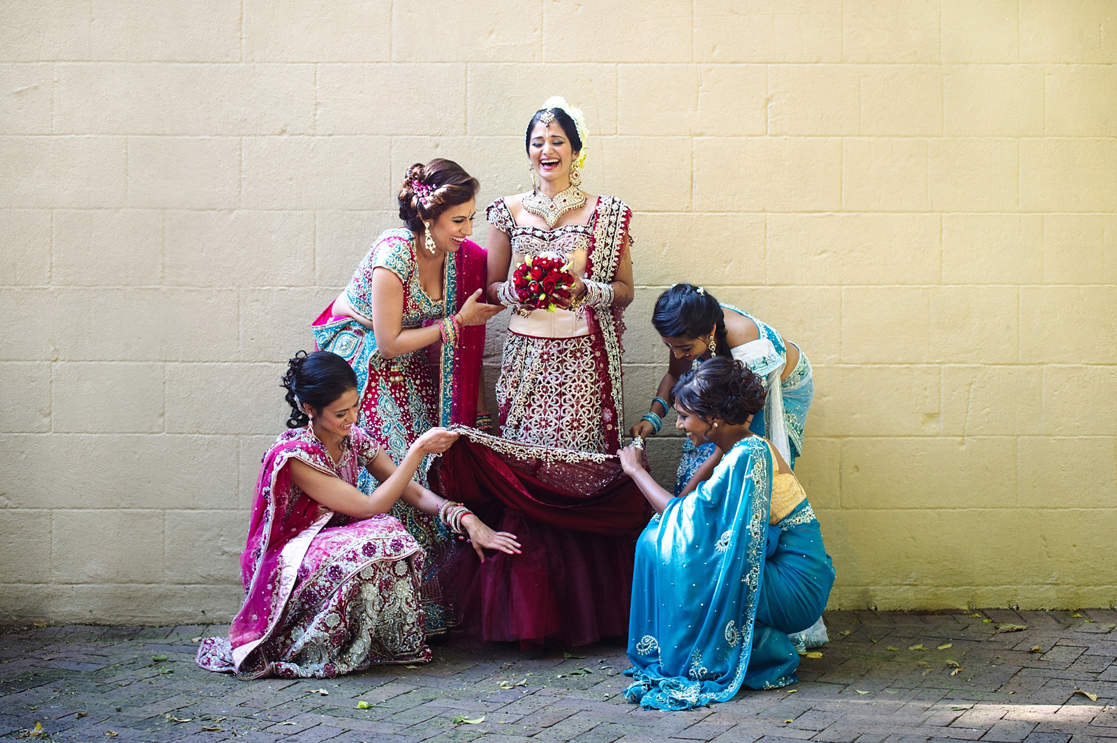 Indian bride with her bridemaids