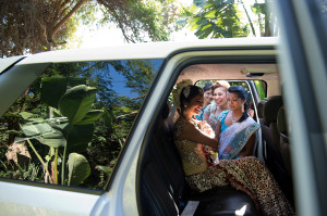 Indian bride in car