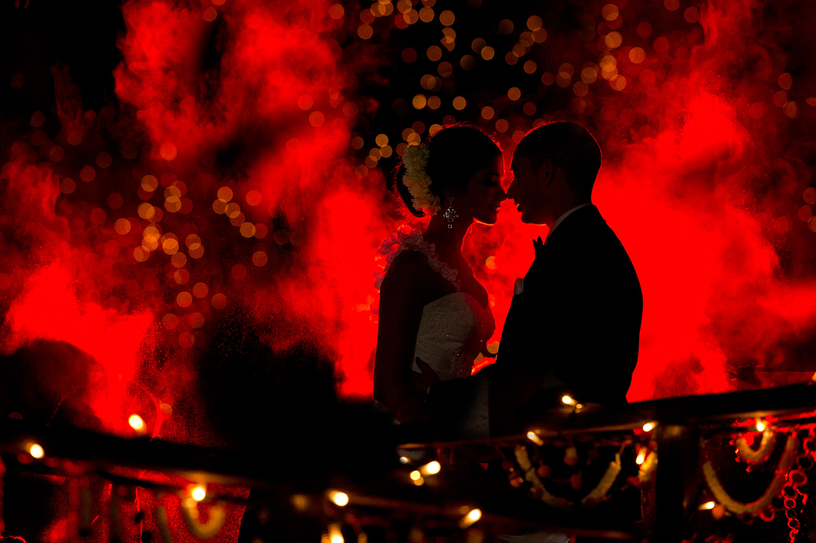 Arty night time photo of bride and groom