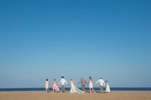 bridal party at beach wedding