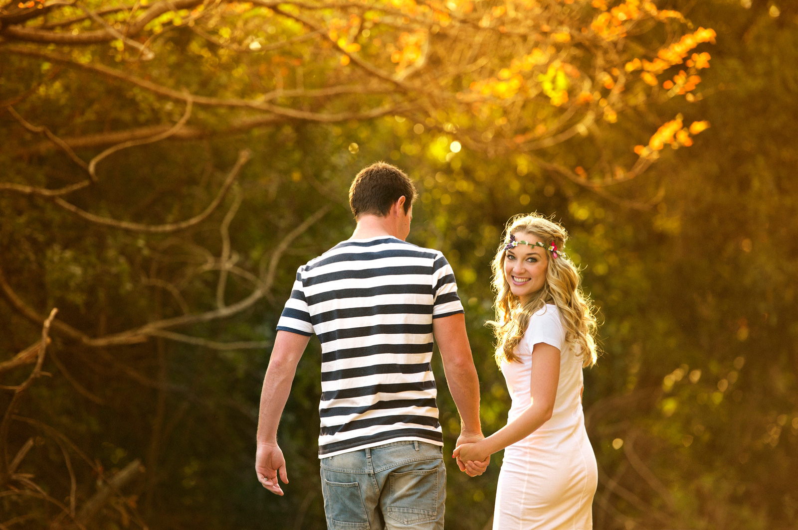 Couple walking in golden light