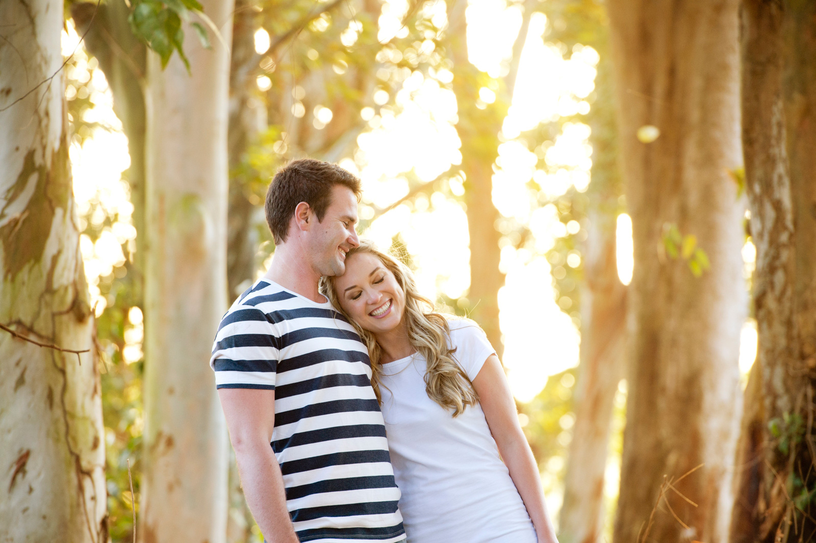 Couple in blue gum trees in Durban