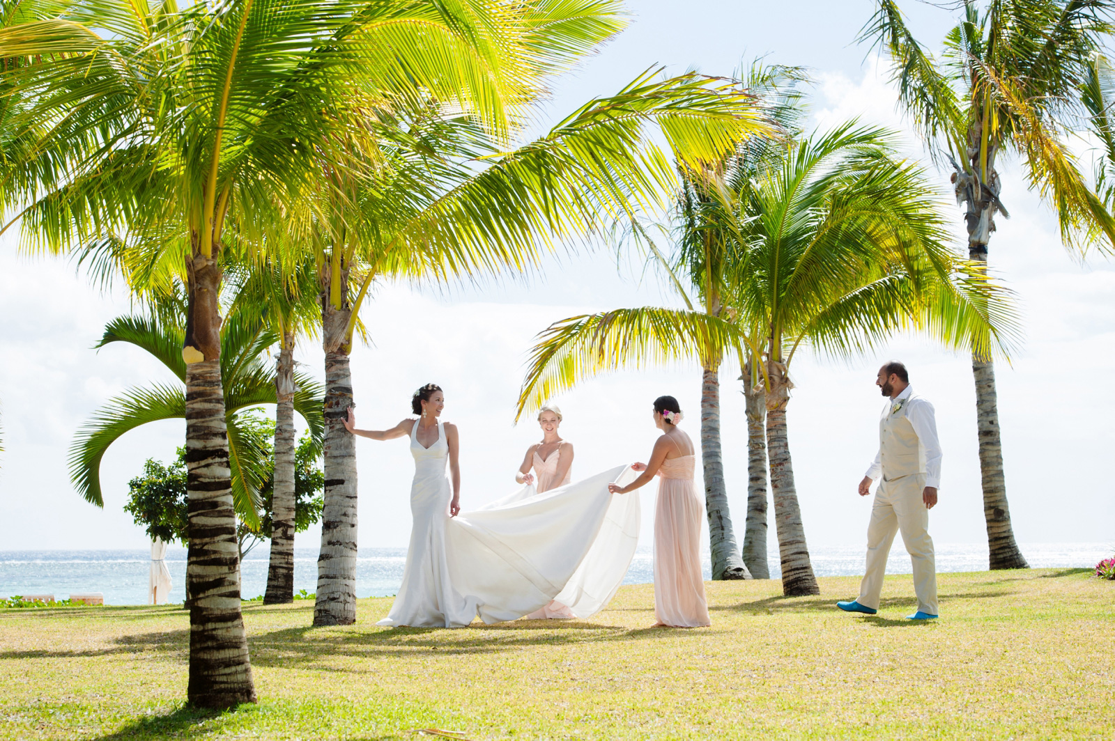bride and bridesmaids in Mauritius