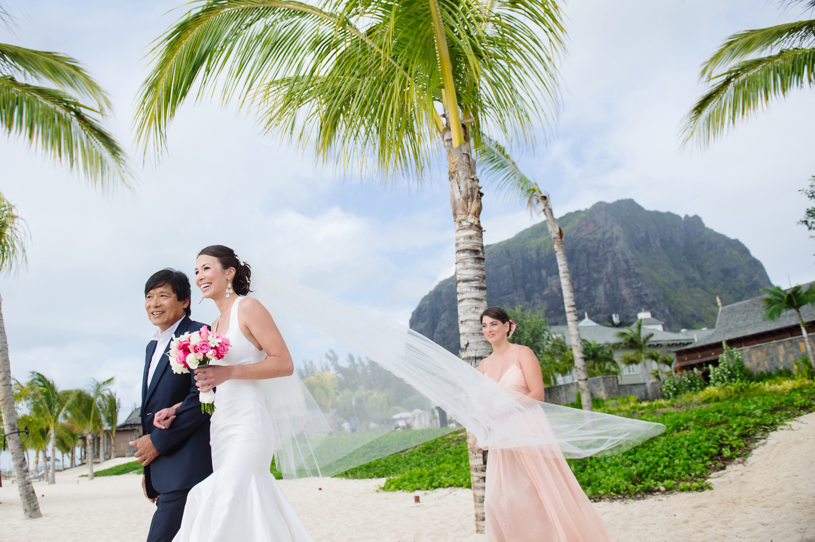 bride down the aisle in Mauritius