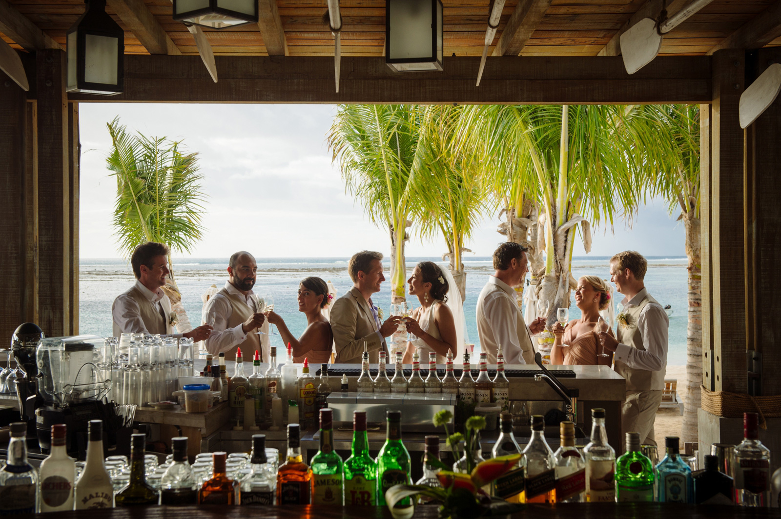 Bridal party at Mauritius bar