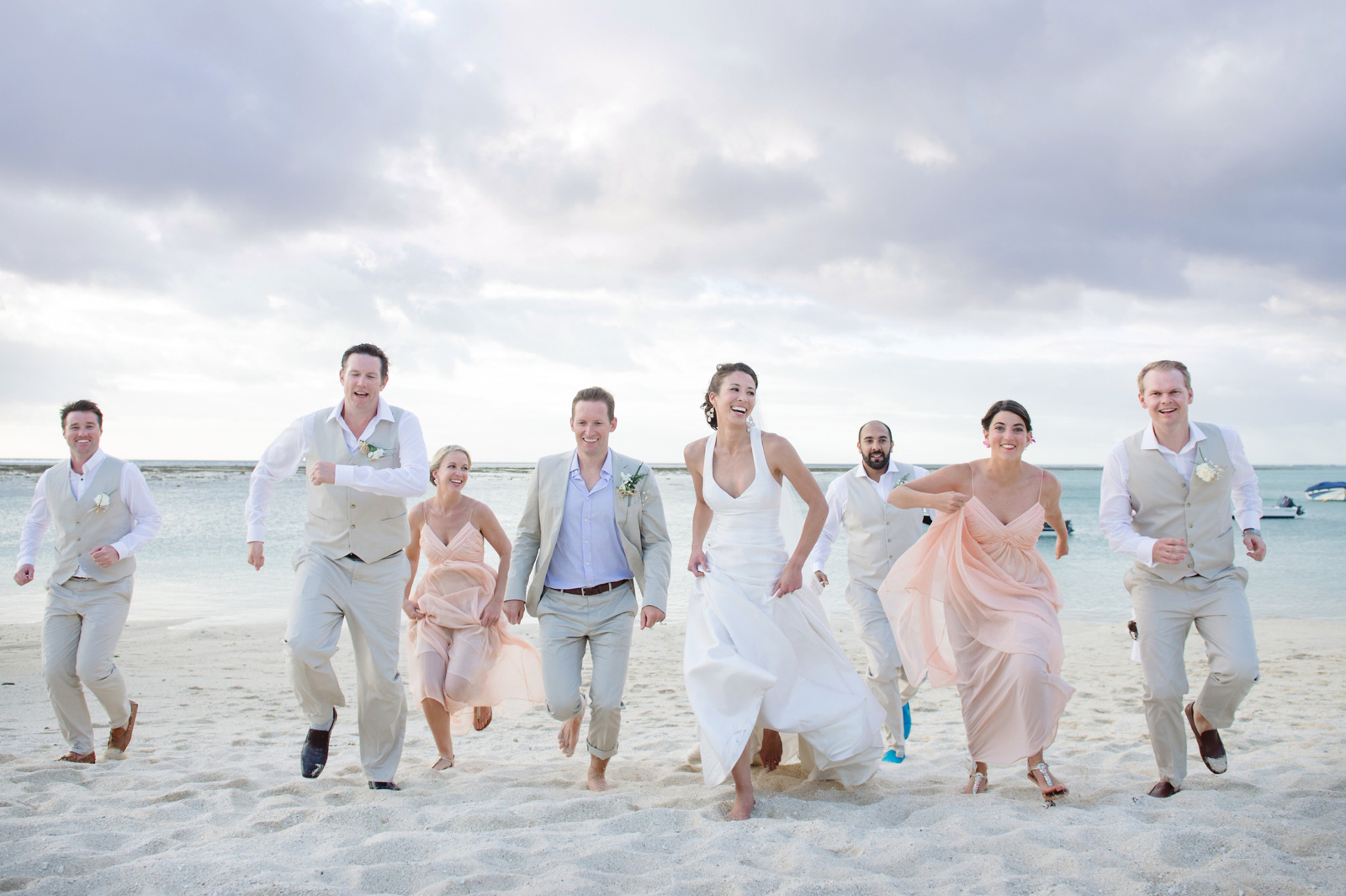 Bridal party on Mauritius Beach fun photo