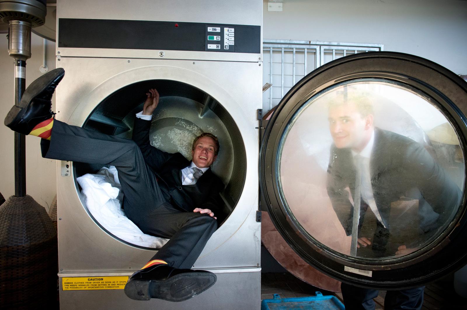man in washign machine