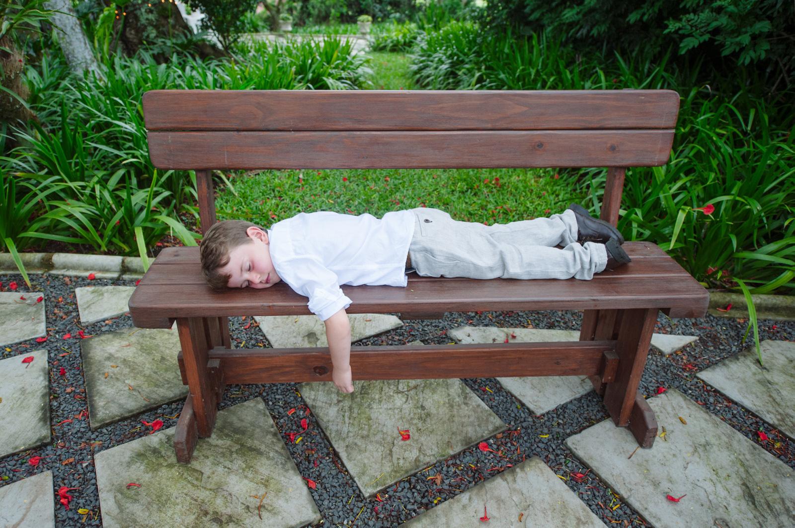 child on bench
