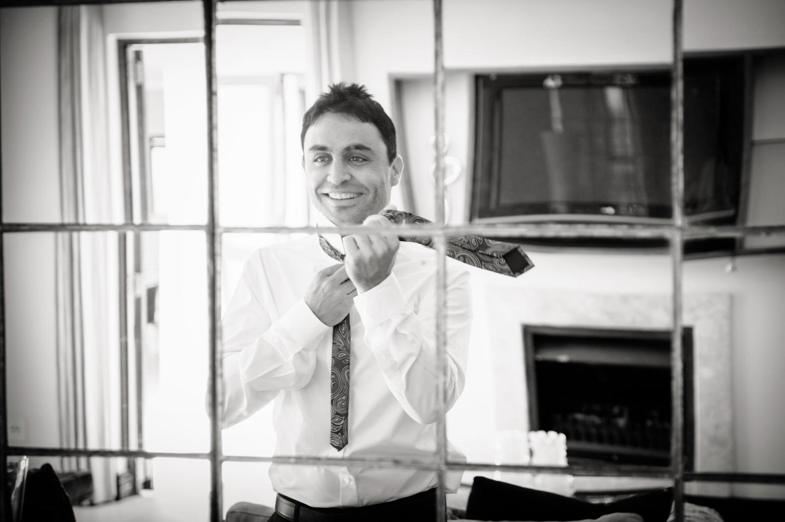 man doing tie