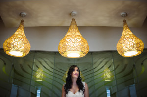 bride under lights