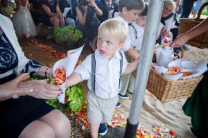 child with confetti