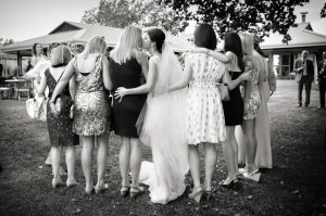 bride with friends