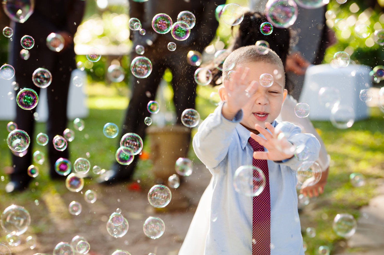 boy fighting bubbles