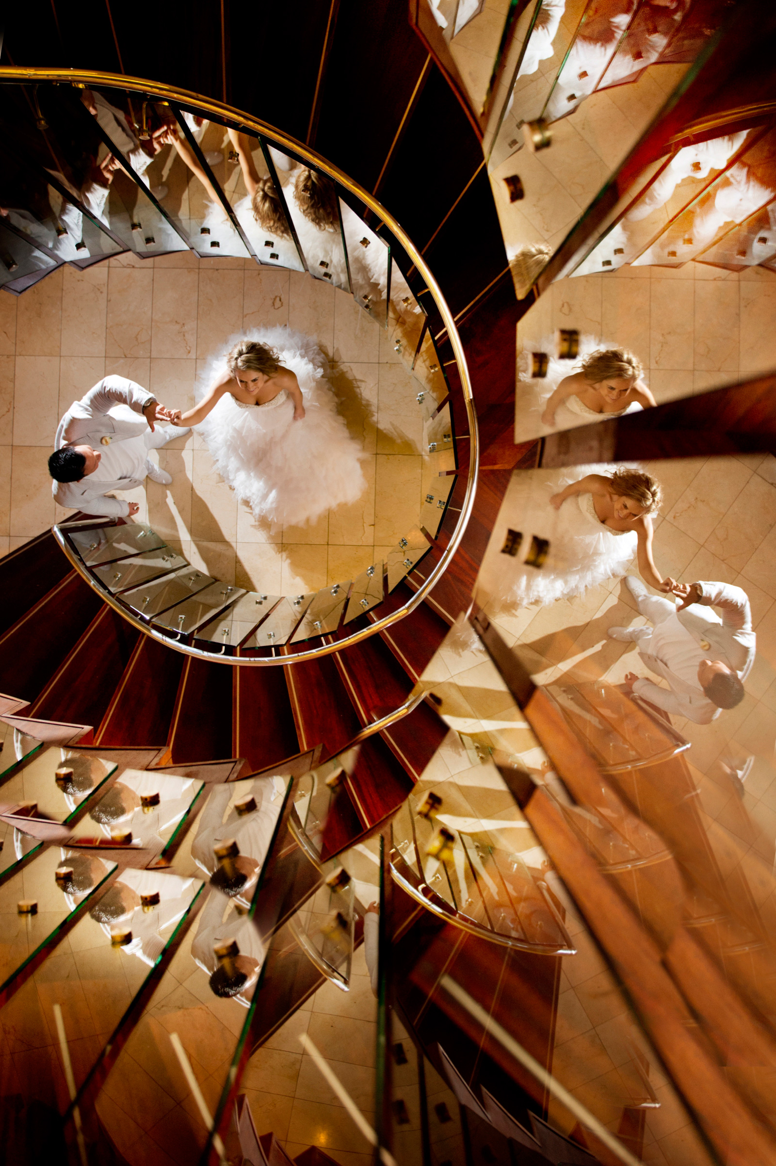 bride and groom up stairs