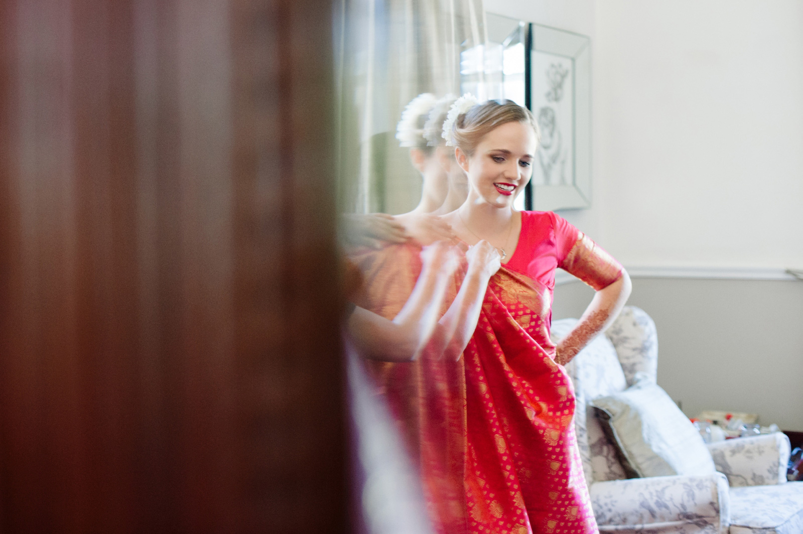 Hindu Christian Wedding Documentary Wedding Photographer Bride in Sari