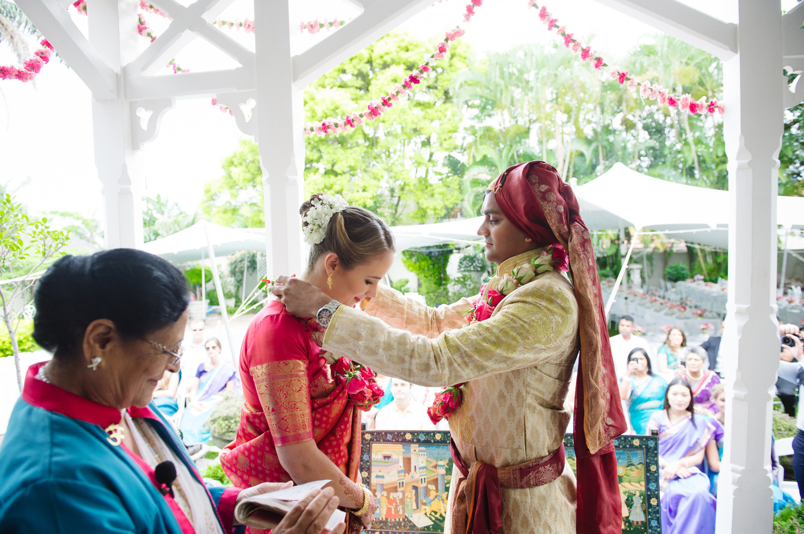 Hindu Christian Wedding Documentary Wedding Photographer Garlands Ceremony