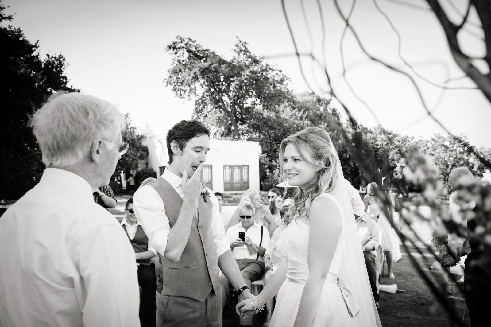 Vrede en Lust Cape Wedding Documentary Wedding Photography Ceremony Bride and Groom