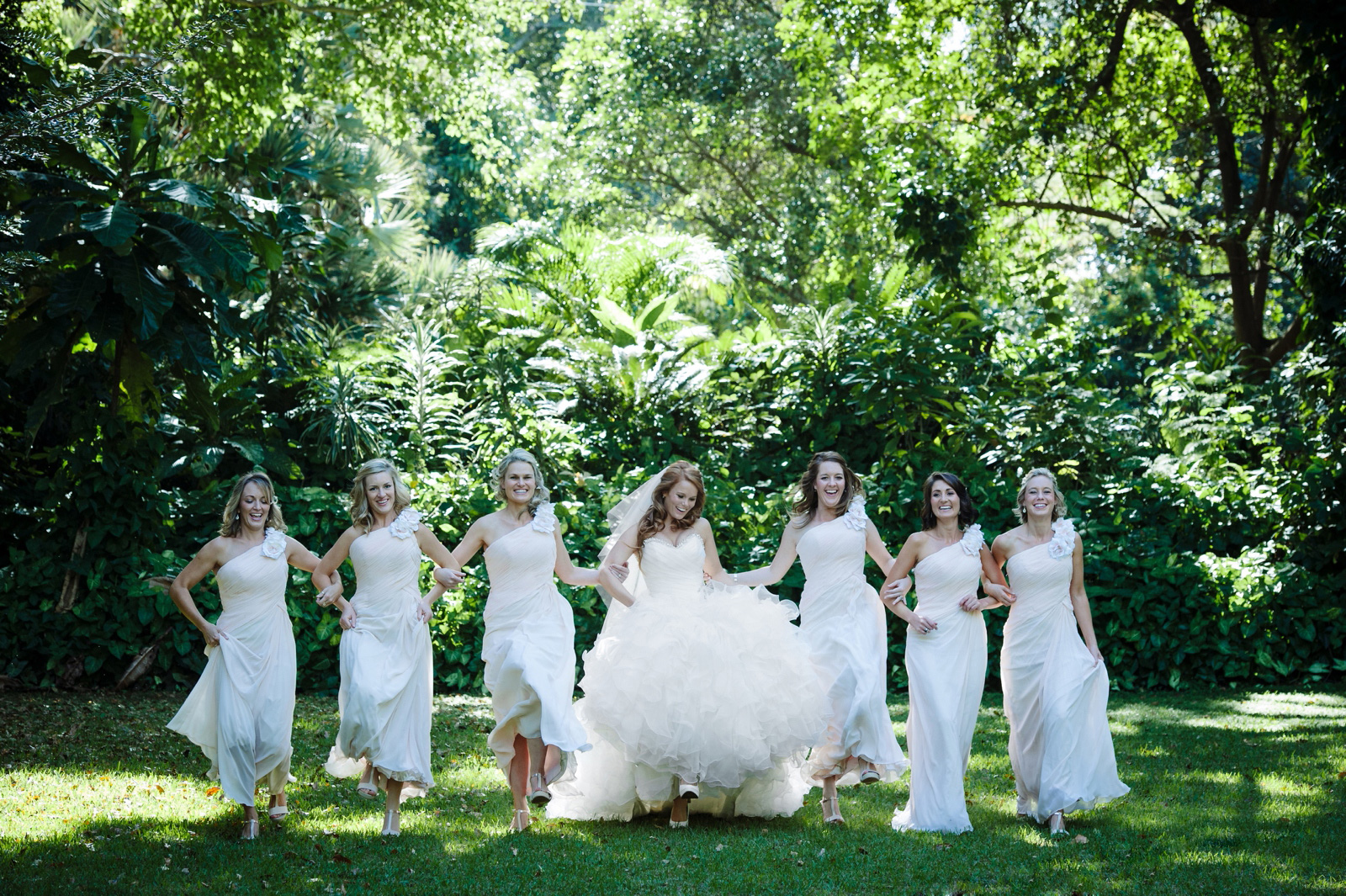 Bridal party in garden