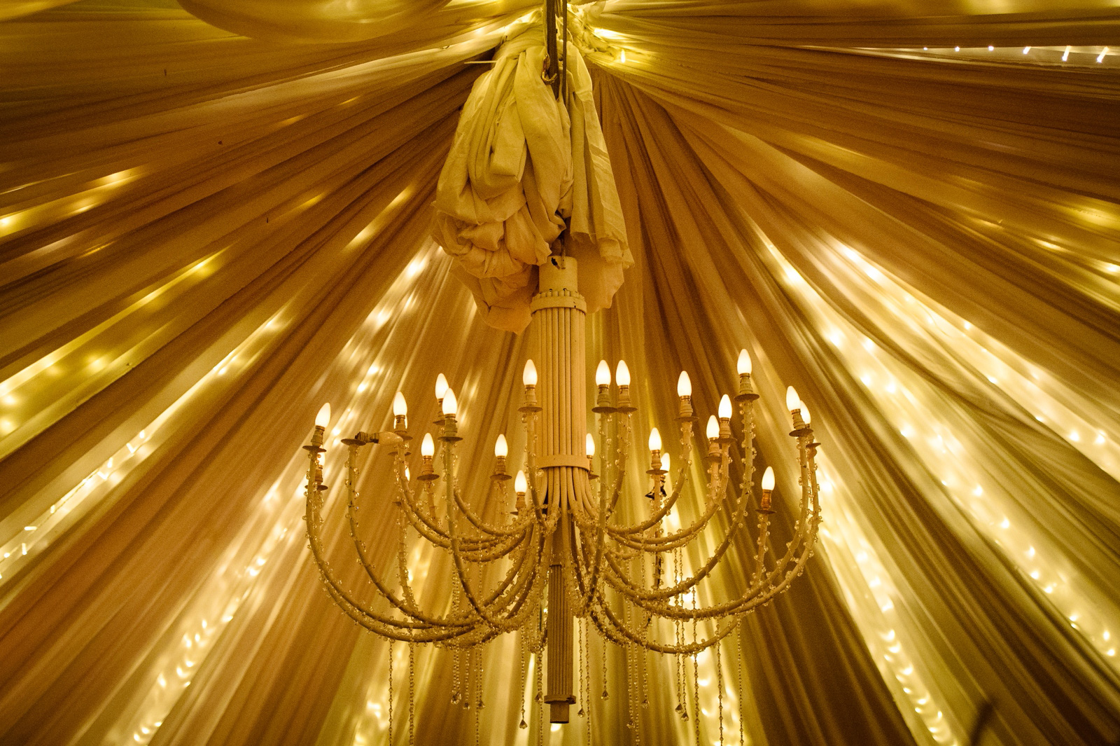 Chandelier at wedding