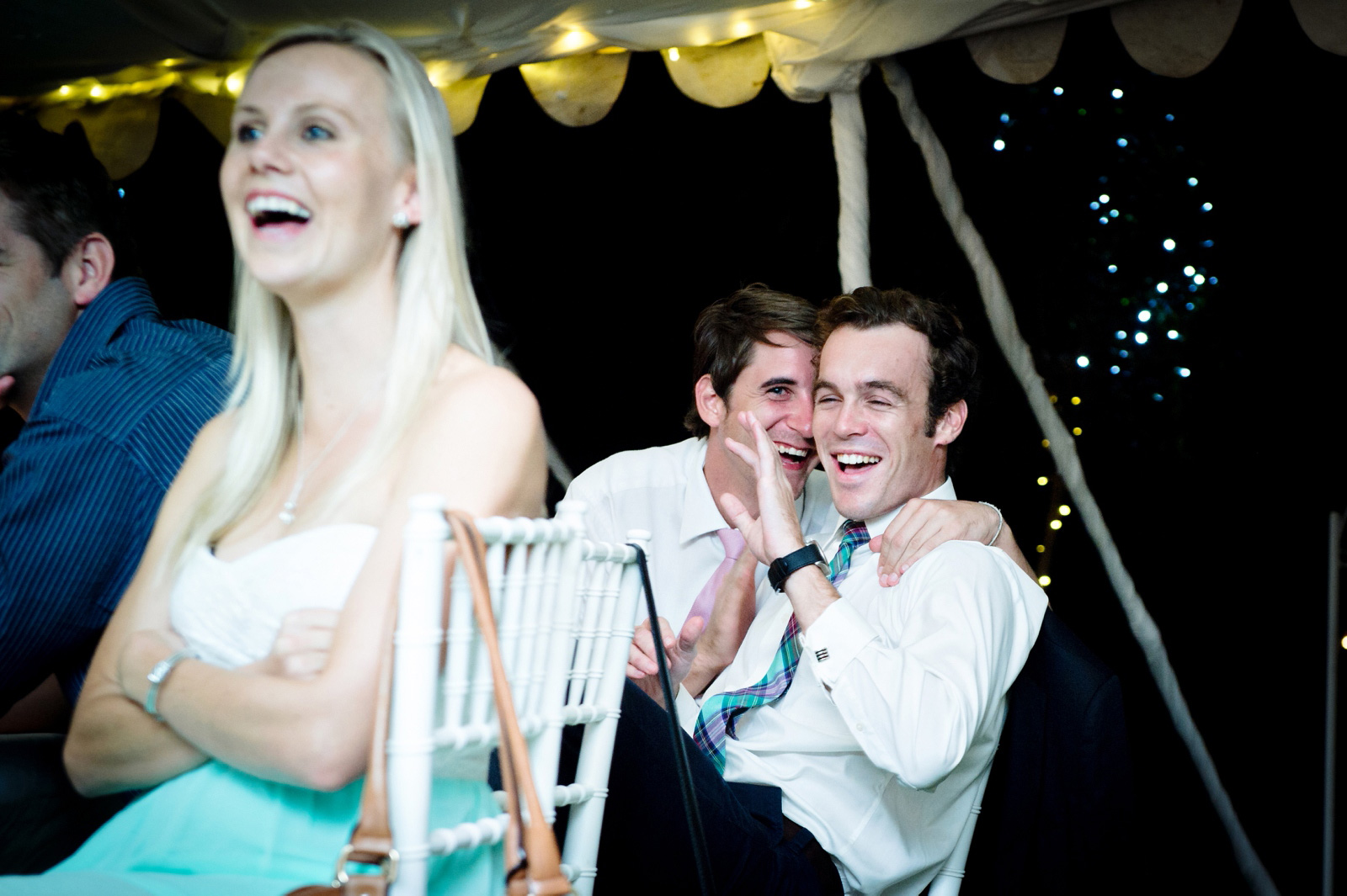 guests laughing at reception