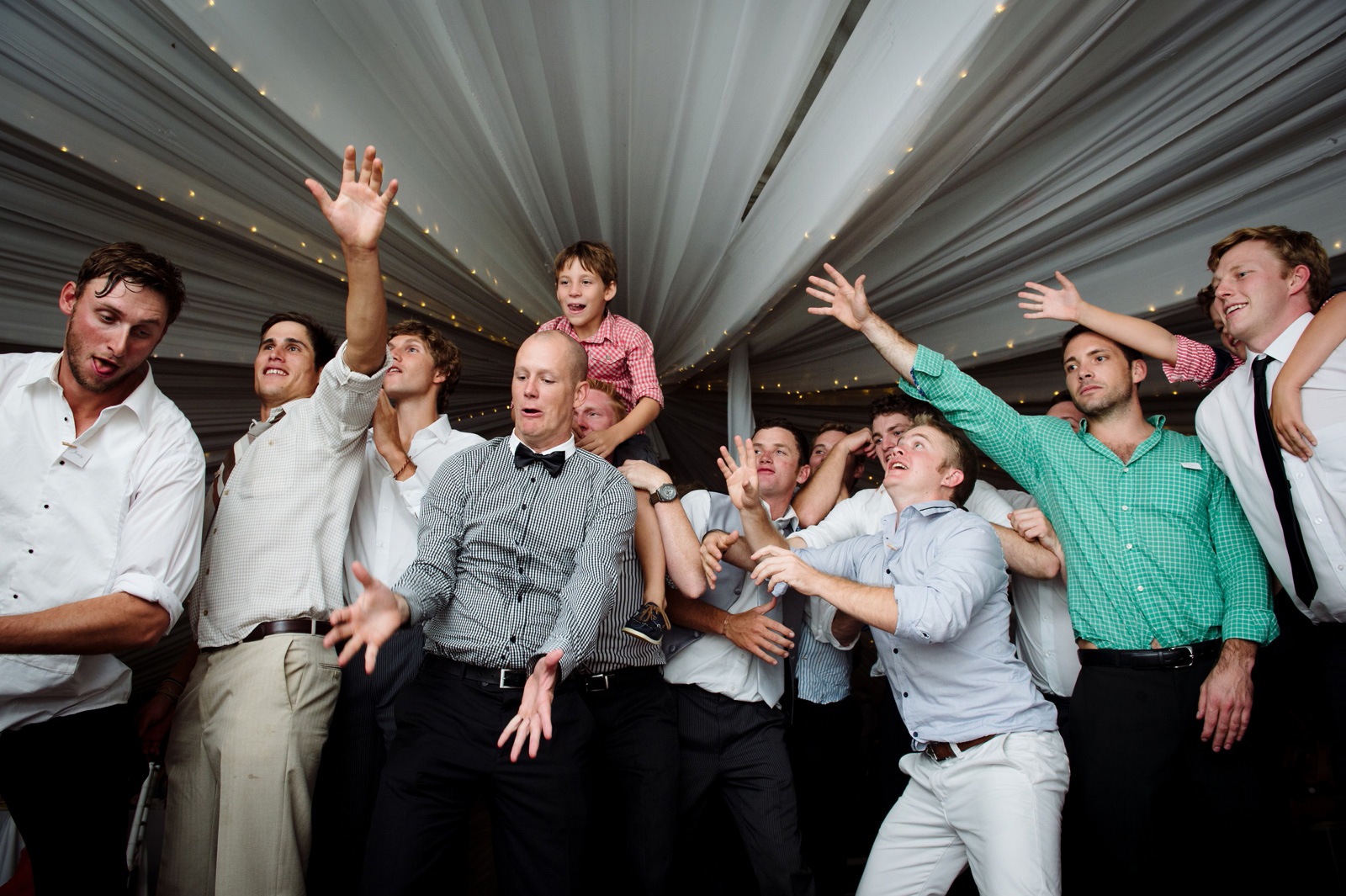 Garter toss at wedding