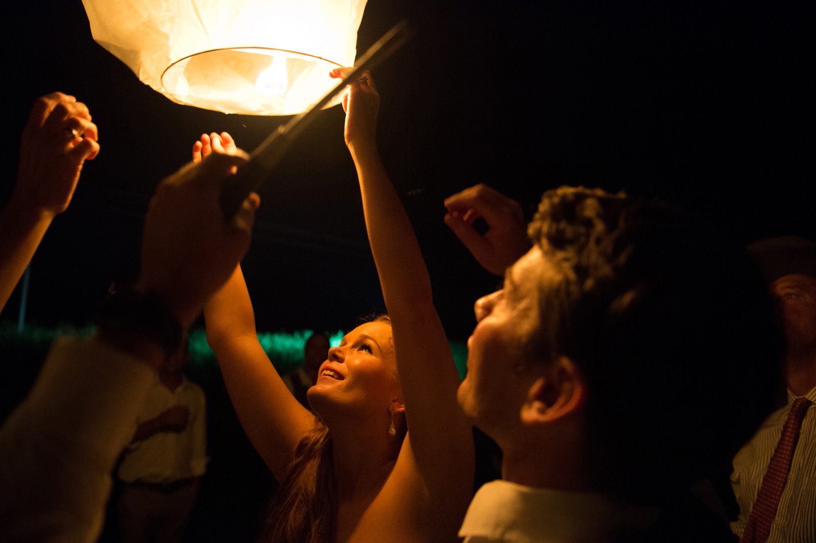 Bride and Groom with lanterns