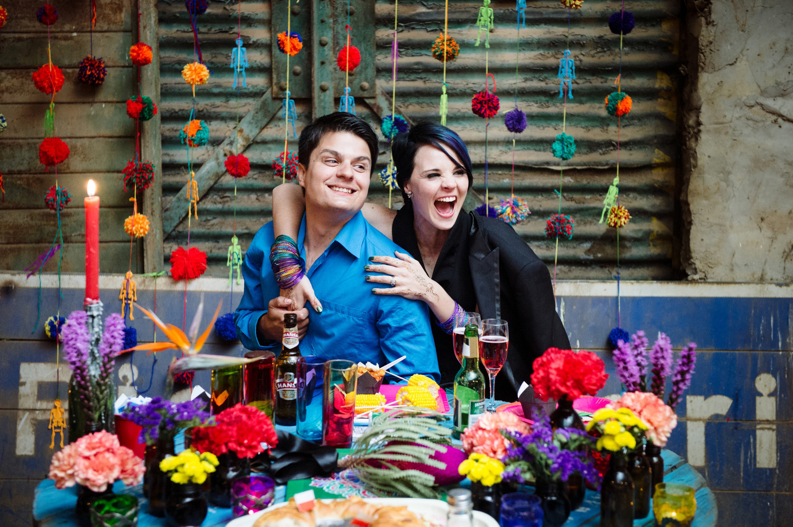 bride and groom at barn wedding