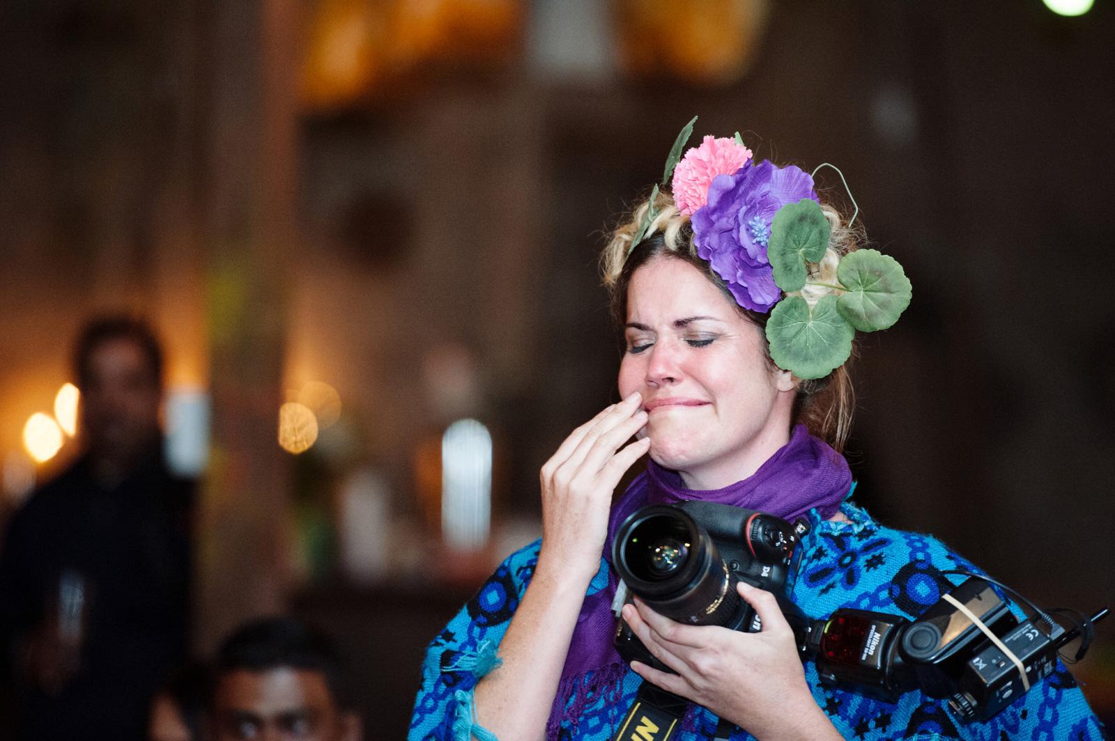 photographer crying at wedding