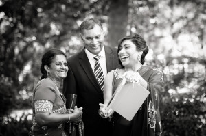 guest at wedding laughing