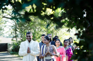 indian couple arrive at ceremony